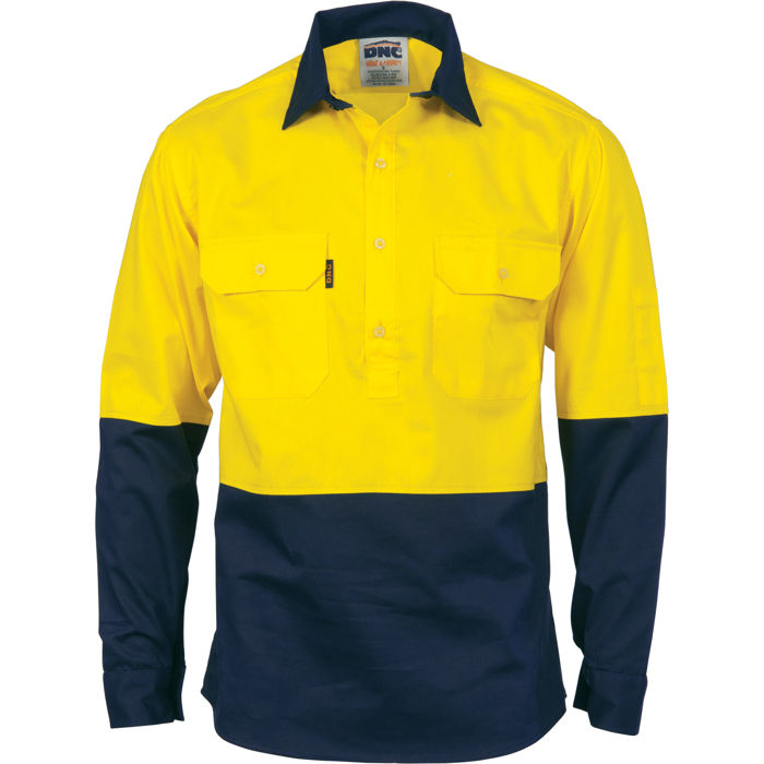 Dnc 3834 hivis two tone close front cotton drill shirt for Wholesale high visibility shirts
