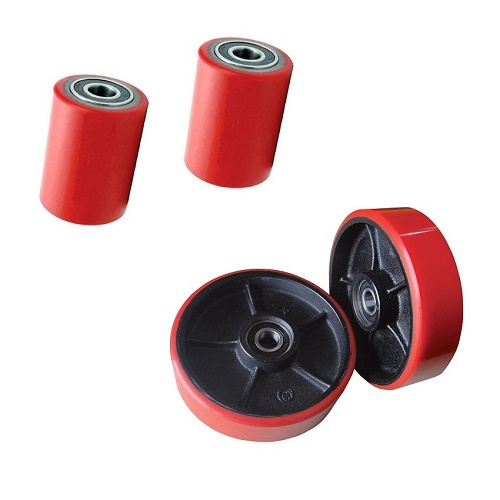 Details about New Poly Pallet Jack Wheels- 2x Rollers & 2x Rear Steering  Wheels+ Bear