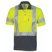 DNC 3912 Hivis D/N Cool Breathe Polo Shirt With Cross Back R/Tape - Short Sleeve 1